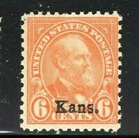 "US #664 Mint-Never Hinged ~ ""Kans.""  Overprinted Single ....Free Shipping....[S]"