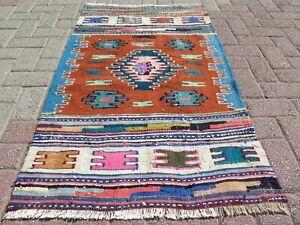 "Door Mat, Turkish Small Kilim, Bathmat, Area Small Rug Carpet Tapis Kelim 30x52"""