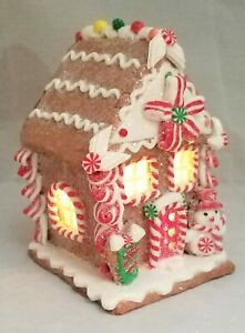 """Gingerbread House Brown White Candy Snowman LED Light Up Clay-dough 5"""" Gerson"""