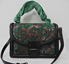 Dries Van Noten Velvet Green Black embroidered Medium Flap Bag New