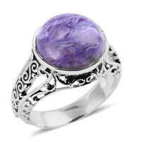 925 Sterling Silver Charoite Solitaire Ring Women Jewelry for Gift Size 9 Ct 4.7