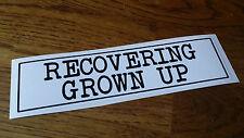 Novelty Bumper Sticker RECOVERING GROWN UP Glossy Adhesive Vinyl Decal