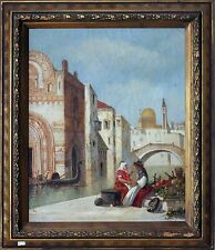 19th Century Oil Painting on Canvas of Venice Scene by Henry Stanton Lynton