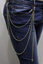 Women Silver Metal Wallet Chain Jeans Biker Rocker Biker Long Fringes Star Charm