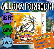 POKEMON SUN UNLOCKED 100% - All BR Legal 802 Shiny, MAX Items, 3-day shipping!