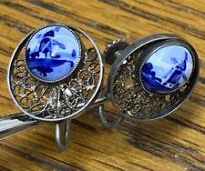 Vintage 835 Silver Delft Screw Back Earrings C230