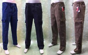 Herren Stretch Jeans Hosen aus Baumwolle mit Cargo-Taschen, Gummibund am Bauch