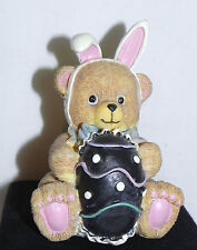 "Estate=Easter Decor 4"" Resin Bear as Easter Bunny with his Chocolate Egg LOOK"