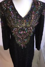 Beaded Sequin XL Dress Cocktail Black Multicolor Bead 100% Silk India Vintage
