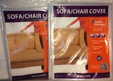 """LOT OF 2 CLEAR PLASTIC SOFA CHAIR COVERS ~ LARGE SIZE 134"""" x 46"""" ~ THROW COVERS"""