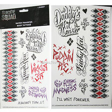 DC COMICS SUICIDE SQUAD HARLEY QUINN Daddy Lil Monster Body TEMPORARY TATTOOS
