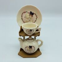 ENESCO Lucie Attwell Little Folks 3 piece mini Tea Set w/display stand