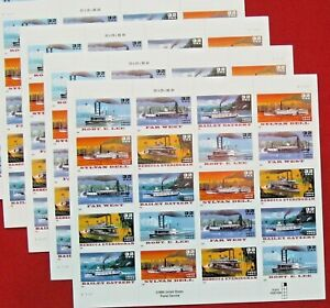 Four Sheets x 20 = 80 of RIVERBOATS / STEAM BOATS 32¢ US USA Stamps # 3091-3095
