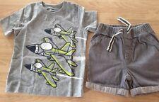 Infant Boys Jumping Bean Short Sleeve SHIRT&Shorts SZ 18mon Grays W/airplane