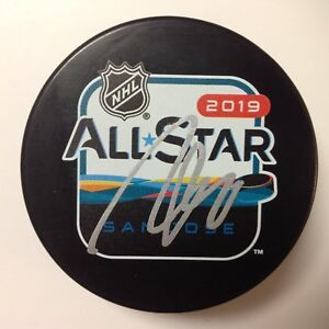 John Gibson Signed Autographed 2019 NHL All Star All-Star Hockey Puck b