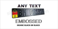 German Euro License Plate / BLACK TEXT on BLACK PLATE /