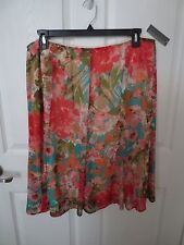 NwT - Covington Chiffon Skirt  - lined - sz XL - Floral Mulit - MSRP $42.00