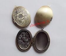 1pz charms ciondolo  portafoto apribile OVALE 34x24mm  colore bronzo