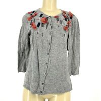 Marisa Christina Women Button Down Wool Blend Cardigan Sweater Embellished Sz L