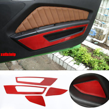 For 2010-2014 Ford Mustang Red Soft Carbon Fiber  Inner Door Trim Cover 4pcs
