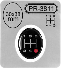 Gear Knob Shift Pattern R Red Lever Sticker 3D Domed emblem badge 5 Speed 30x38