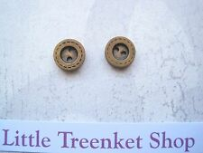*CHUNKY STITCH LIGHT WOOD BUTTON* 10mm Small Silver Plated STUD Earrings Wooden