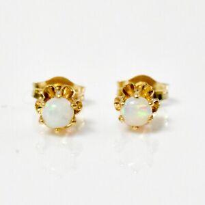 14K Yellow Gold Opal Stud Earrings .7G