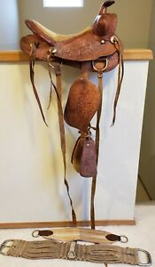 """12"""" VINTAGE WESTERN TOOLED LEATHER PONY SADDLE BILLY COOK CINCH KIDS YOUTH"""