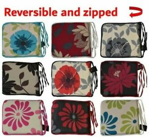 Floral Foam Seat Pad With Strong Ties Zipped Removable Cover For Dining Chairs