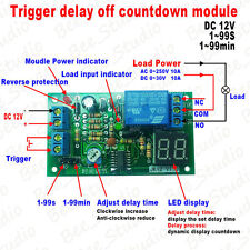 12V Digital LED Display Trigger Delay Time 1s~99min Relay Module Turn OFF Switch