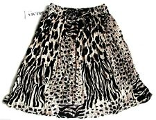 Short Skirt Animal Print Black Tan Rayon Stretch Waist One Size NWT #64