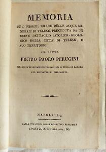 SCIENZA MEDICINA PERUGINI MEMORIA ACQUE MINERALI TELESE CAMPANIA BENEVENTO 1819
