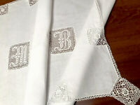 VINTAGE HAND EMBROIDERED CROCHET LACE WHITE LINEN MONOGRAMMED M B TABLECLOTH