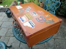 """Vintage Well Travelled """"Leather Look"""" Large Brown Suitcase & Worldwide Stickers#"""