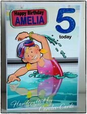 PERSONALISED BIRTHDAY CARD NAME/AGE SPORT/SWIMMING/SIS/NIECE/DAUGHTER