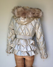 Juicy Couture Gold Quilted Goose Down Puffer Ruffle Back Jacket Coat Womens M L