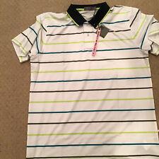 G/Fore Peter Millar Golf Shirt Xl White Stripe Retail $125 Bonus Key Chain!