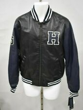 TOMMY HILFIGER Size Large Blue/Black Faux Leather Varsity...