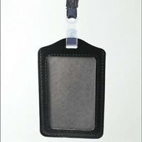 Unisex ID Badge Identity/Bank Card Holder Leather Case Cover Free Lanyard New