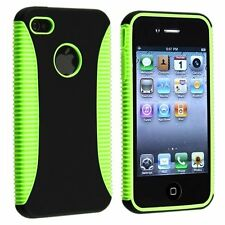 Hybrid Ribbed Case for iPhone 4 / 4S - Green/Blue