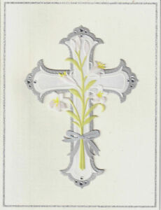 Gorgeous Papyrus Easter Card Cross w/ Lilies and Rhinestones- Peace & Happiness