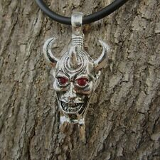 n18 DEMON PEWTER PENDANT LADY HORN DEVIL MEN BIKER PUNK NECKLACE RED EYE MONSTER