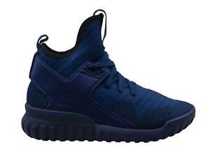 Adidas Tubular X Primeknit Blue Textile Lace Up Mens Trainers S80131