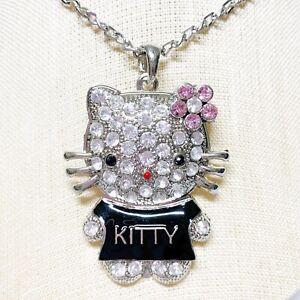 Black Kitty Enamel Charm Necklace
