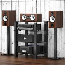 Fitueyes Black Glass Media Component Audio Stereo AV Entertainment Cabinet Rack