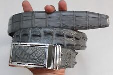 Without Jointed - Gray Genuine Crocodile Leather SKIN Men's Belt-W 1.5 inch