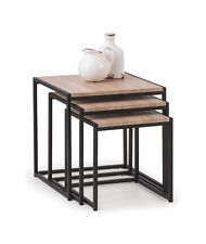Tribeca Nest of 3 Tables in Sonoma Oak Effect and Powder Coated Steel Free Del
