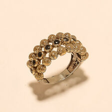 Natural Black Spinal Ring 925 Sterling Silver Two Tone Turkish Fine Jewelry Gift