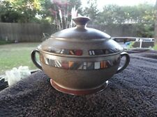Denby Marrakesh Multicolored Band Designs Rim Green Covered Handled Casserole