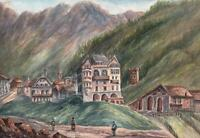 BUILDINGS IN MOUNTAIN LANDSCAPE PONTRESINA SWITZERLAND Watercolour Painting 1909